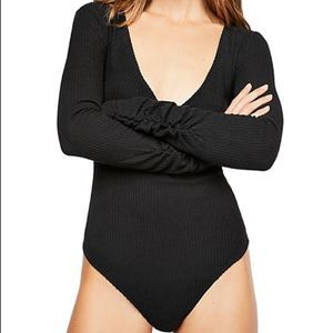 Free People • Cozy Up With Me Bodysuit in Black